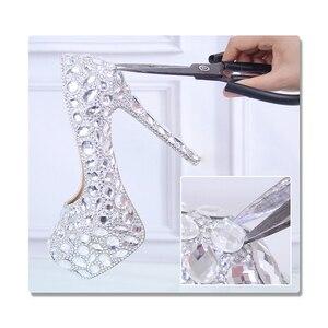 Image 2 - クリスタルの靴シンデレラ女性のためのイブニングパーティーきらめくラウンドつま先カスタムシルバーラインストーンウェディングポンプサイズ 9