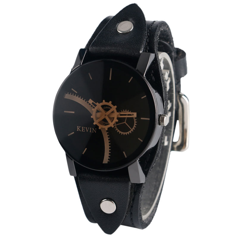 KEVIN Unisex Quartz Watch Special Gear Hands Pointer Svart Dial Punk - Herrklockor
