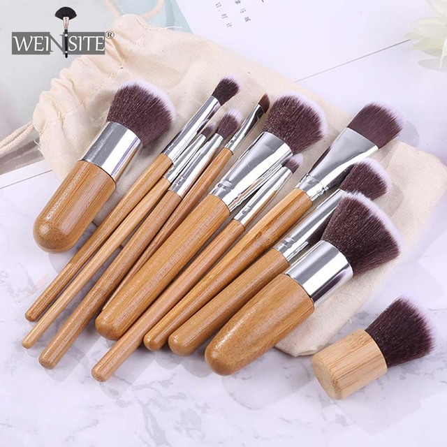 11PCS Bamboo Makeup Brushes Set With Cloth Bag Cosmetics Face Foundation Brush Powder Blusher Eyeshadow Beauty Blending Tool Set 1