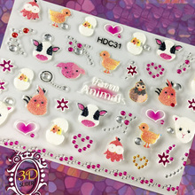 1Set=24 Sheets 3D Nail Art Sticker Unique Self-Design Embossed Flower 24 Different Styles Tips Decoration DIY Patch