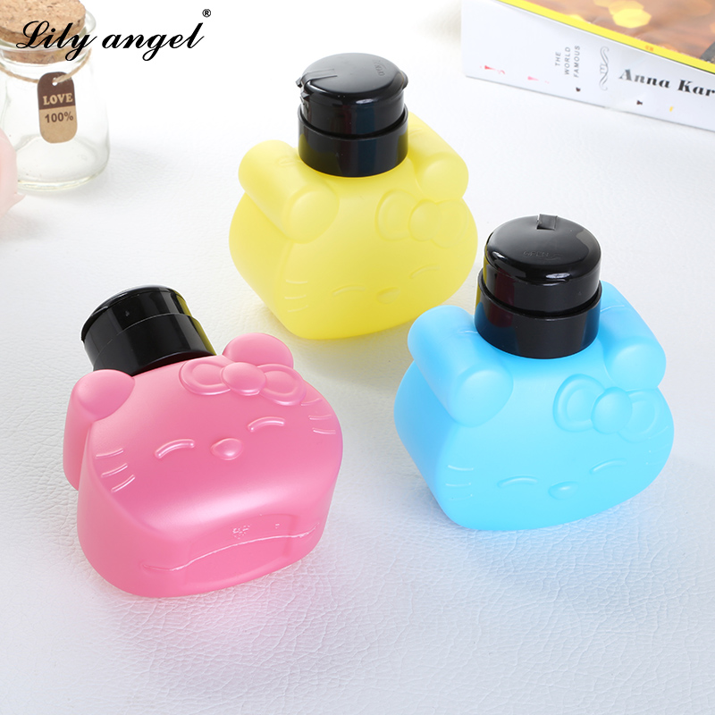 300 ml Lindo Hello Kitty Pump Bottle Pressing Liquid Alcohol Remover Cleaner Bottle Nail Art Tools Botellas vacías Z15