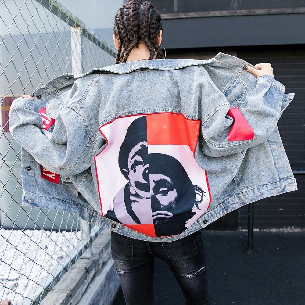 TREND Setter 2018 Spring Fashion Harakuju Letter Denim Jacket Women Long Sleeve Loose Cartoon Jean BF