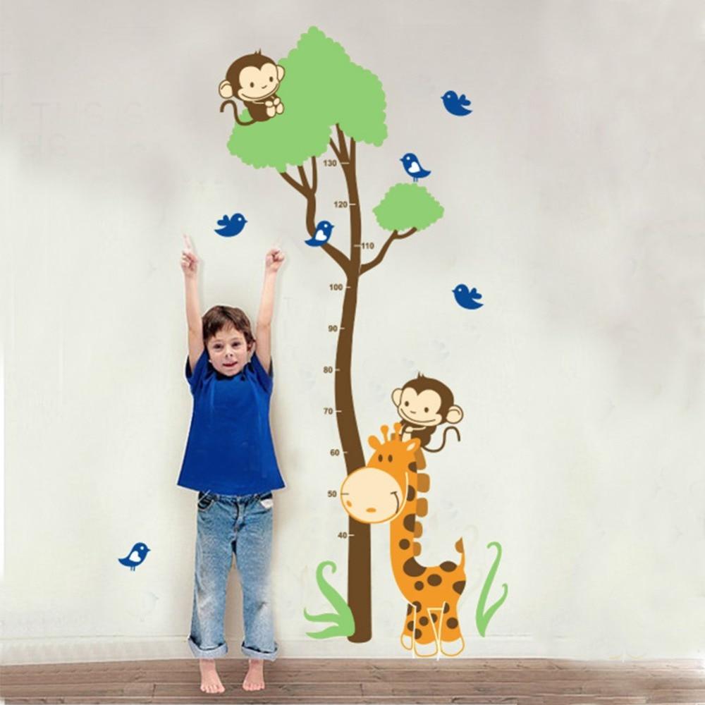 Cute Monkey Giraffe Wall Sticker Height Ruler Measure