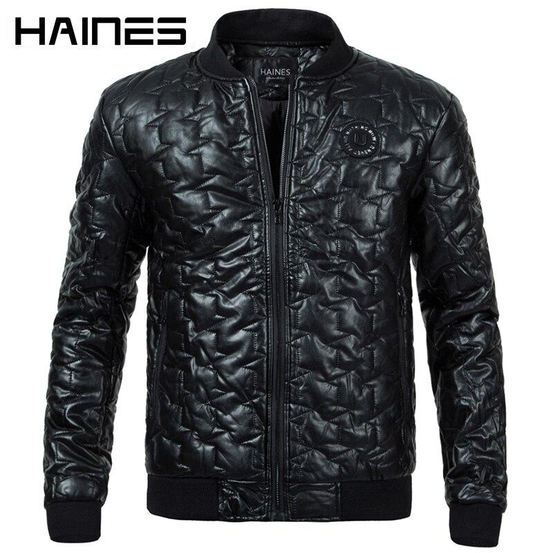 Хайнс брендовая куртка из искусственной кожи теплая обувь с хлопчатобумажными стельками зимние куртки Для мужчин 2018 Мода Стенд воротник мо...