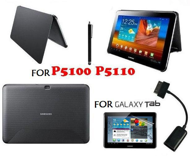 ФОТО 4in1 Kit For Samsung Galaxy Tab 2 10.1 P5100 P5110 Leather Skin Book Cover Case + OTG Cable + Screen Protector + Pen