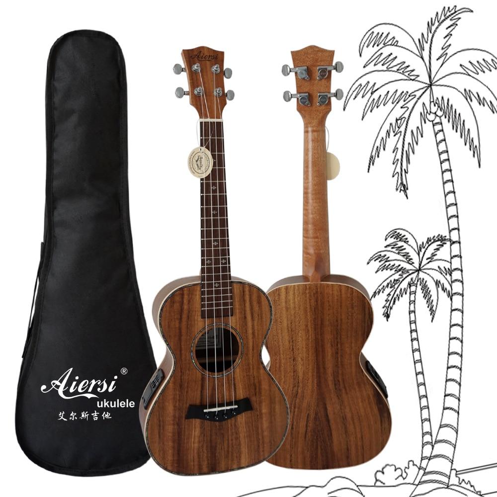 Nouveau 26 pouces électrique EQ ukulélé Acacia bois Hawaii guitare avec sangle de sac