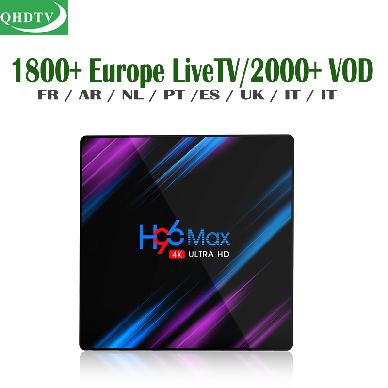 QHDTV French Subscription 1 Year H96 Android TV Box Portuguese TV Channels Italy Dutch Afrique UK