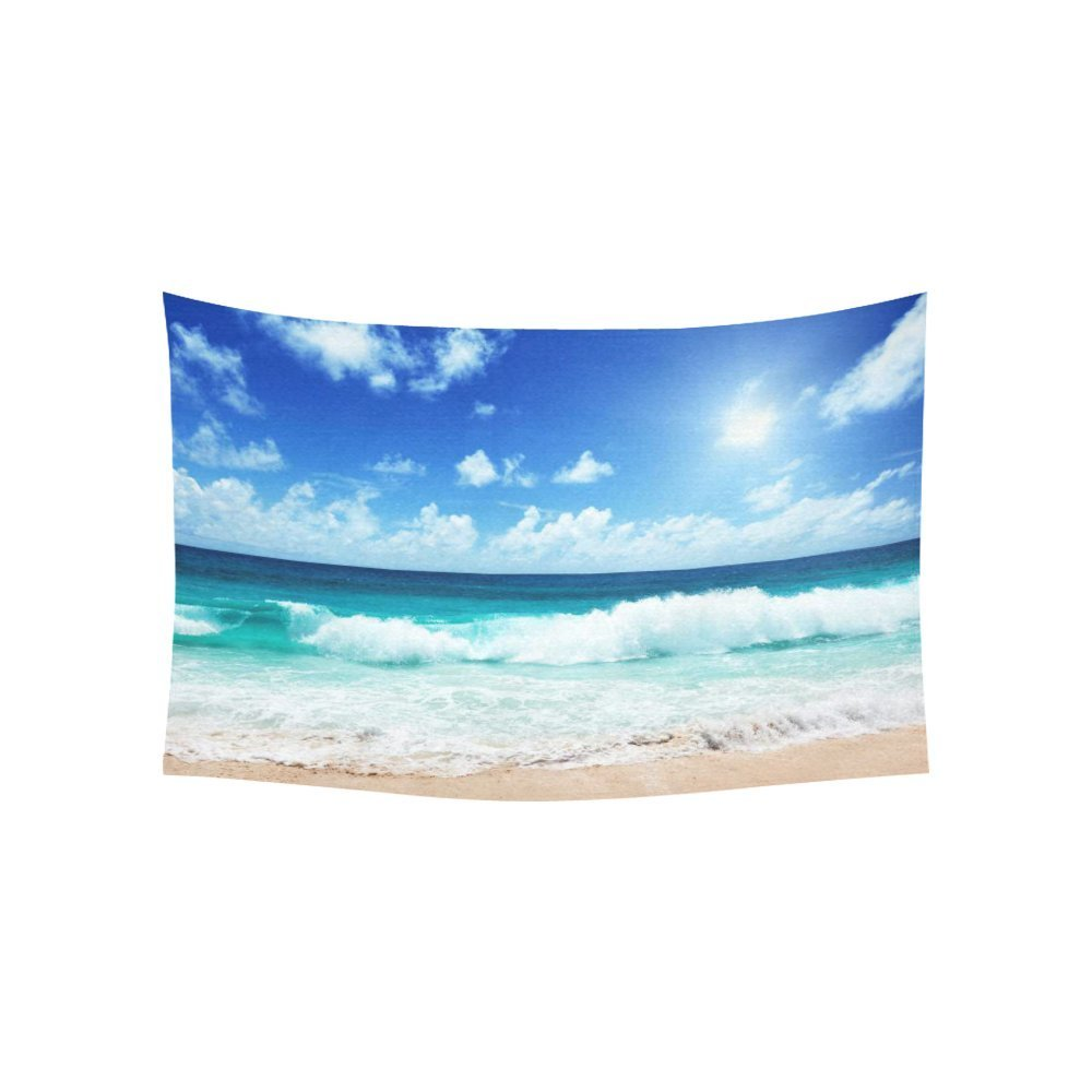 Tropical Seascape Tapestry, Beach on the Seychelles Island Tapestry Home Decor Wall Hanging Art Sets