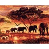 Frameless Elephants Landscape DIY Digital Painting By Numbers Modern Wall Art Room Home Decor Canvas Painting