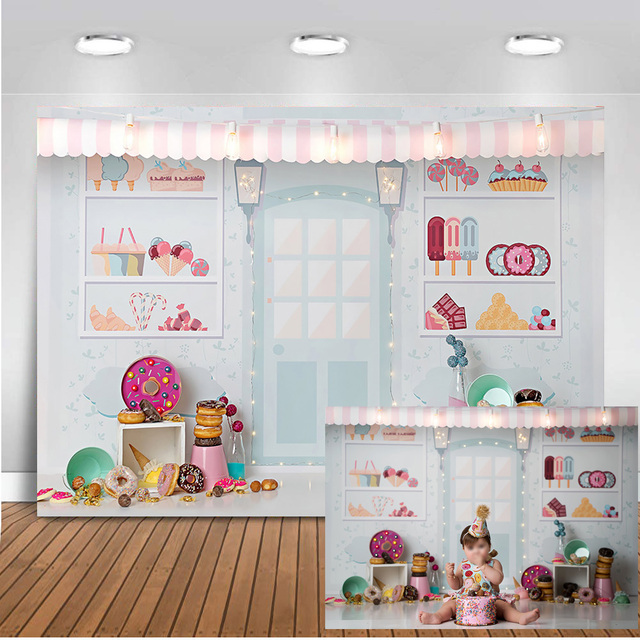 Neoback Candy Bar Backdrop for Photography Sweet Shoppe Birthday Theme Party Banner Decoration Background for Photo Studio 403