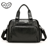 Leather men bag Europe and the United States trend retro handbag men leisure business single shoulder twill computer briefcase
