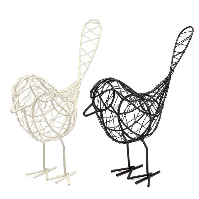 Finest 1Pcs Vintage Metal Craft Wire Iron Bird Model Decorative Ornament  EY03