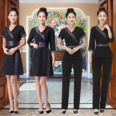 Beauty salon beautician work clothes dress set summer health shop technician women wear short sleeves slim body