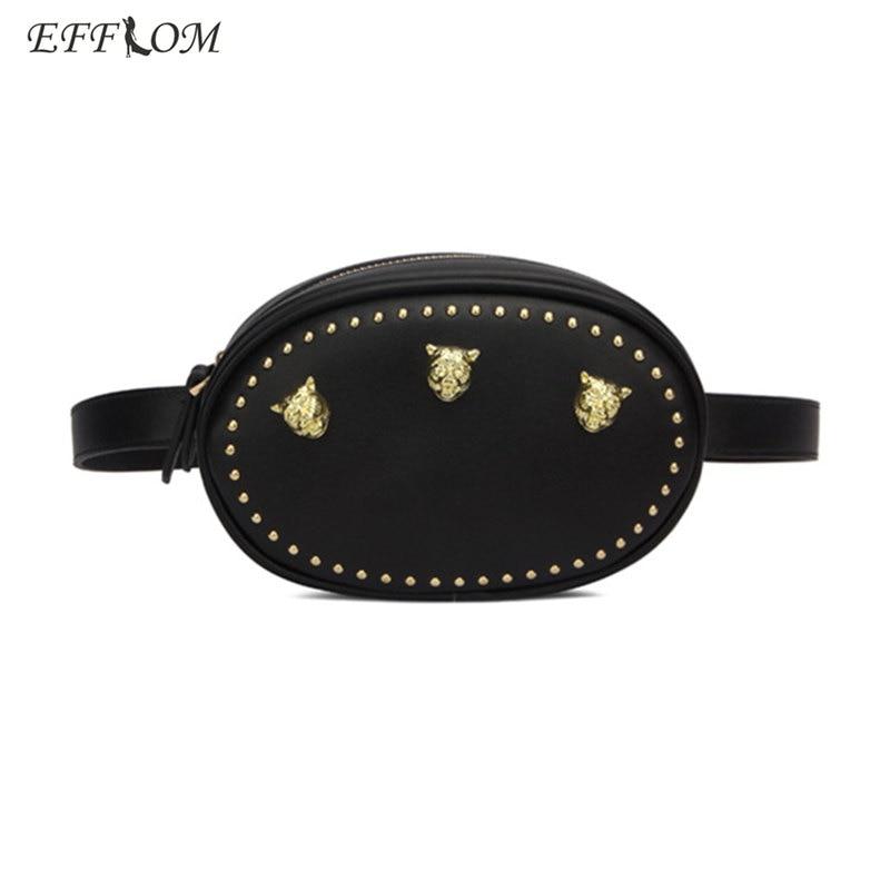 Fashion Women Waist Bag Designer Tiger Head Studded Leather Fanny Pack Women 2018 New Summer Functional Bum Chest Belt Bag Round