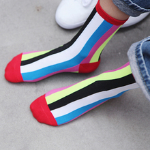 Rainbow Striped Socks Patterned Funny Short New Style Hot Womens Cool Cotton Casual High Quality Comfortable