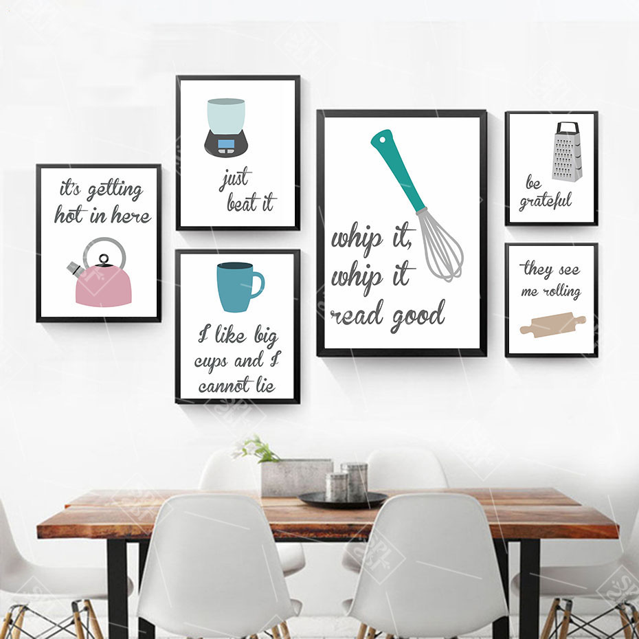 Kitchen Canvas Art Humorous Joke Quotes Painting Wall Posters And Prints Still Life Pattern Drawing Modular Decoration Pictures