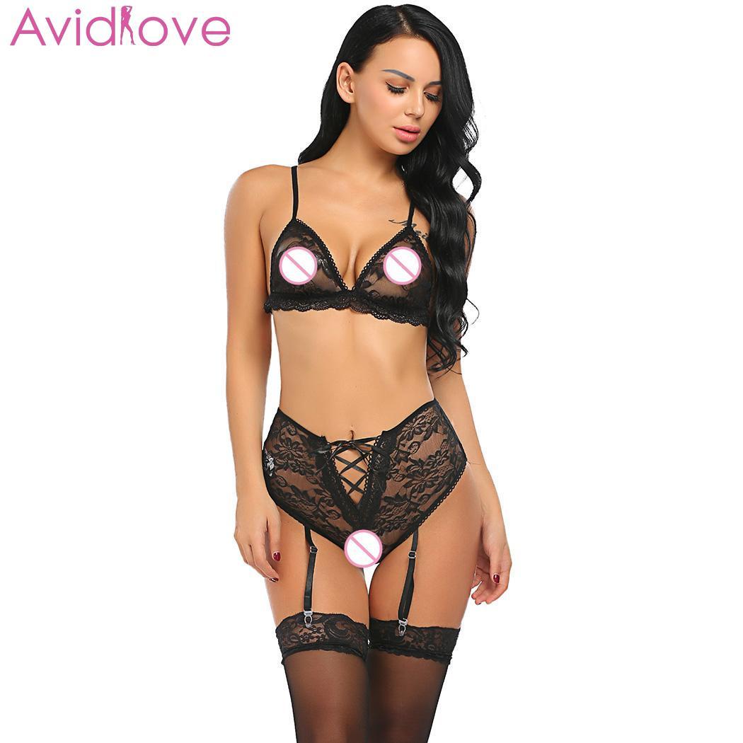 Avidlove Women Sleepwear Sexy Lingerie Set Garter Lace Unlined Bralette Sheer Sexy Bra and with G string Lingerie Lingerie Sets  - AliExpress