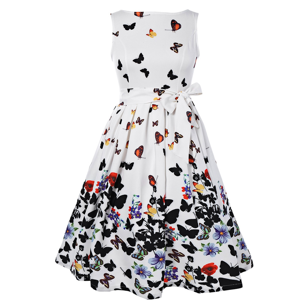 6c3492b6f52 Kenancy Plus Size 4XL Women Vintage Dress O Neck Half Sleeves Belts Party Retro  Dress Vestidos 1960s Print Audrey Hepburn Dress