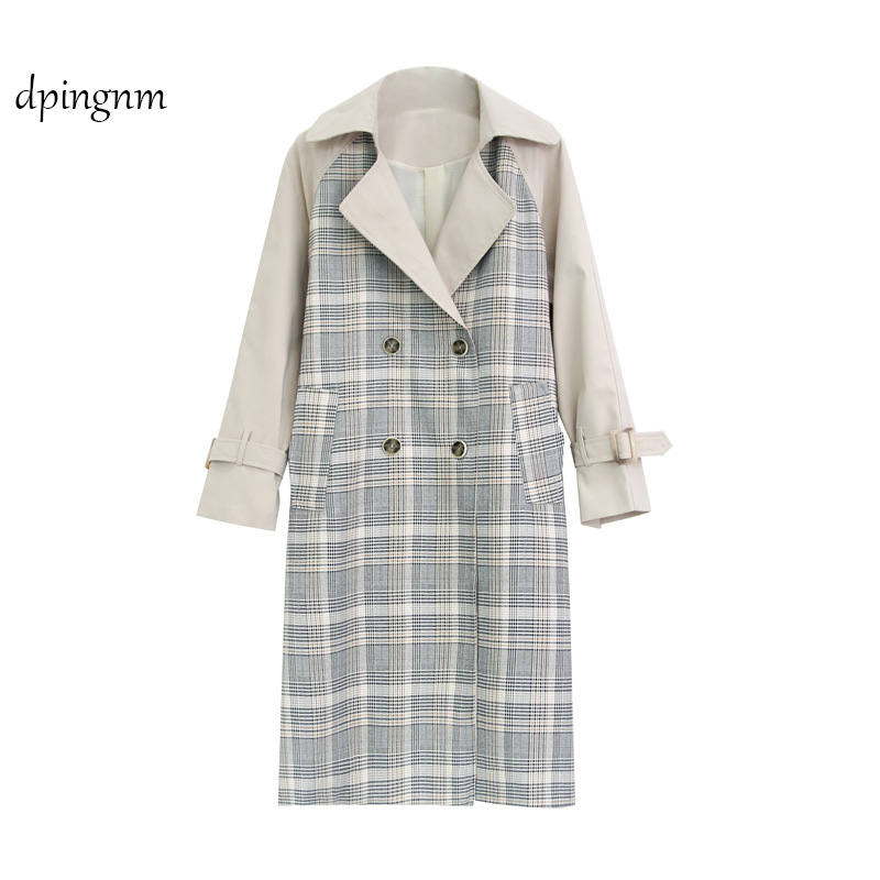 dpingnm Brand Double-Breasted Solid   Trench   Coat For Women Winter Autumn Outwear Long   Trench   Coats British Style Casaco Feminino