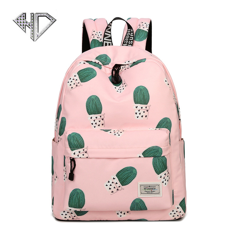 Women Backpack School Bags For Girls Polyester Printing Bags Large Capacity Shoulder Bags Pink Cute Computer Rucksack E fashion 15 6 inch waterproof fabric women backpack pink cute sushi cuisine pattern printing large capacity girls bookbags