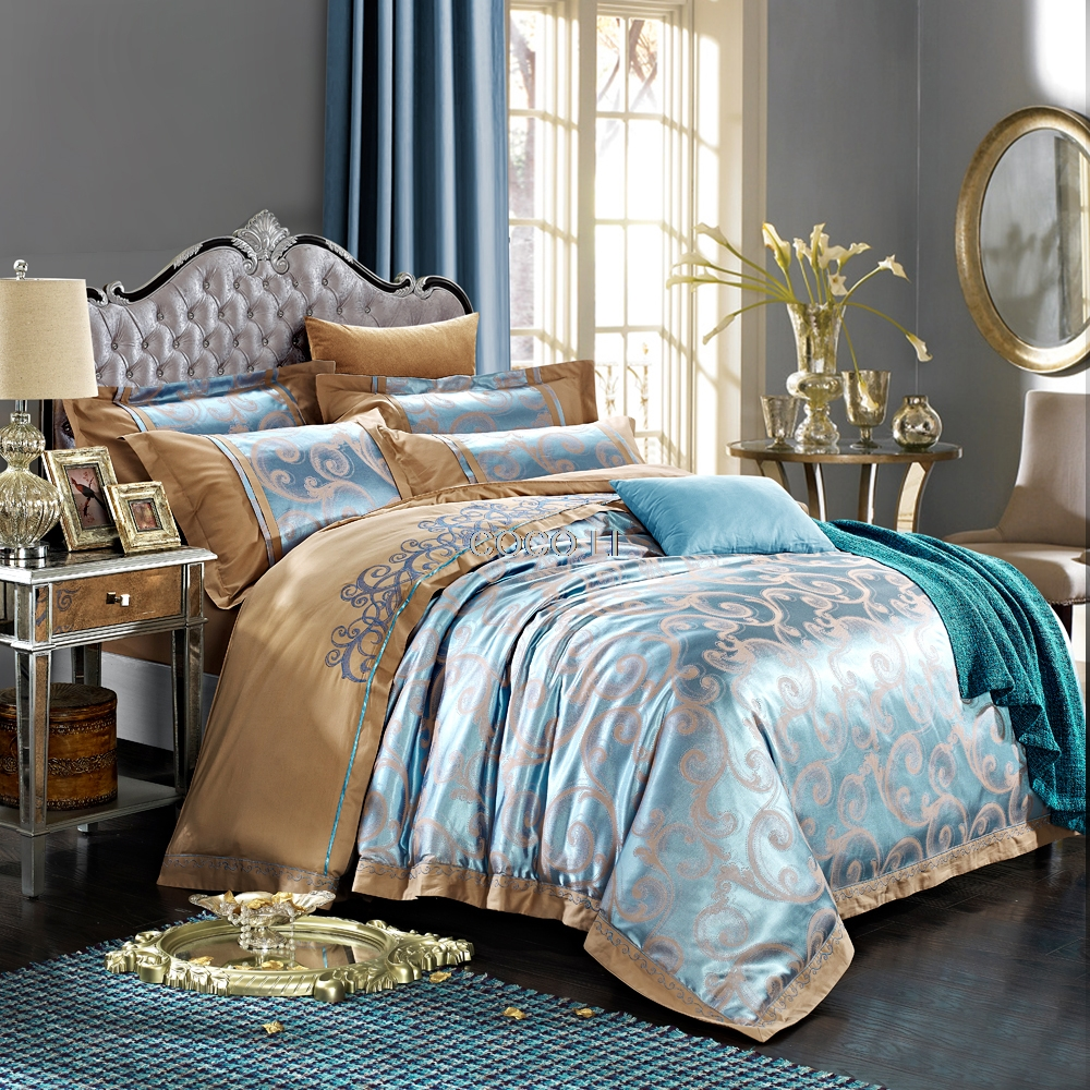 Moda textil para el Hogar ropa de cama jacquard de satén de la boda tencel 100%