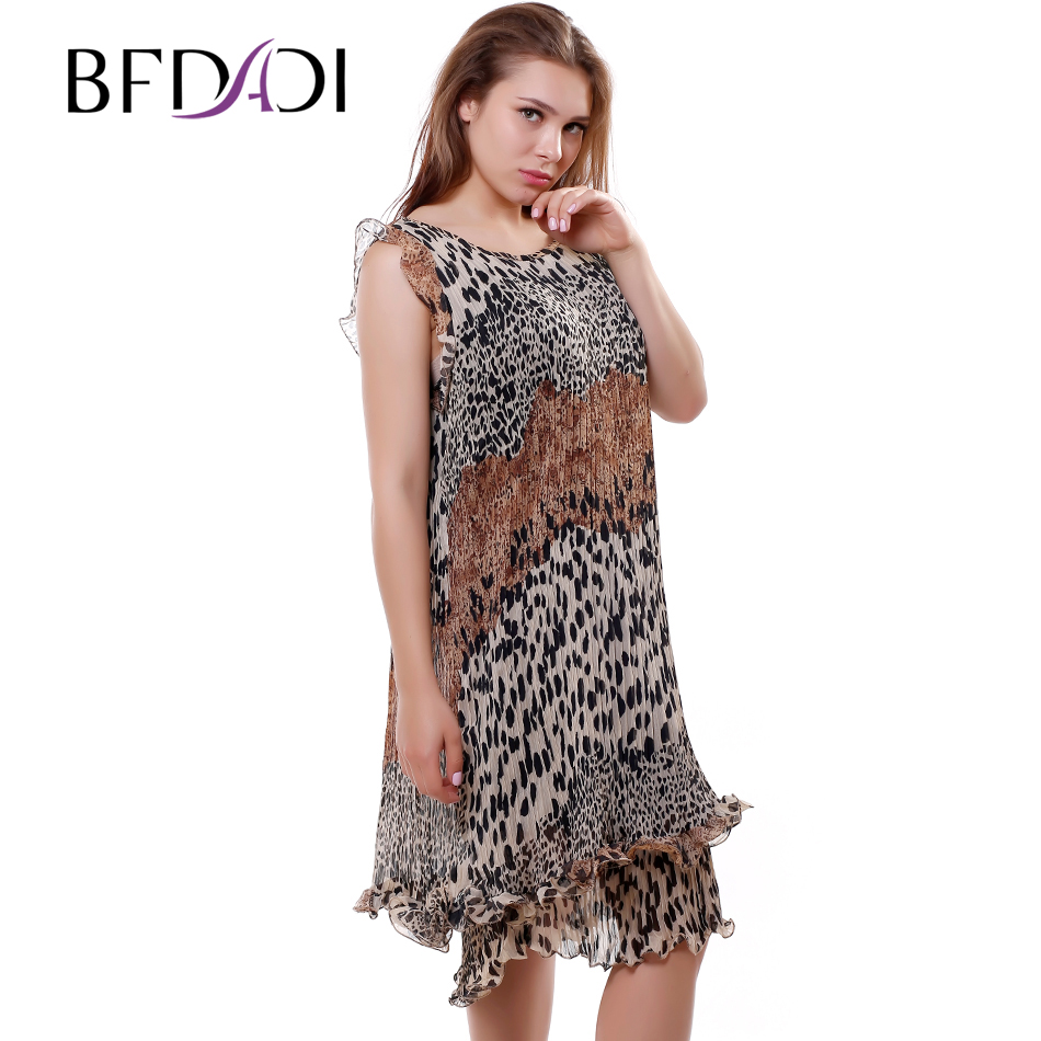 BFDADI New 2016 Summer Leopard Pattern Pleated Dress Women ...