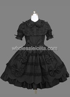 Black Gothic Lolita Dress with Short Sleeves and Bow Lolita Channel Ball Gown 4XL For Sale Tea Party Dresses