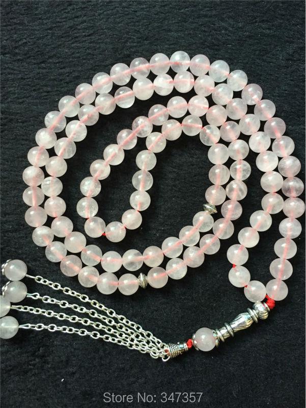 New Arrival Natural 99beads Pink Crystal Quartz Beads Stone Rosary Kehribar Tesbih Prayer beads Islamic Muslim Tasbih Allah new arrival unique 10mm buddism 108 mala beads stone prayer beads tasbih allah prayer rosary