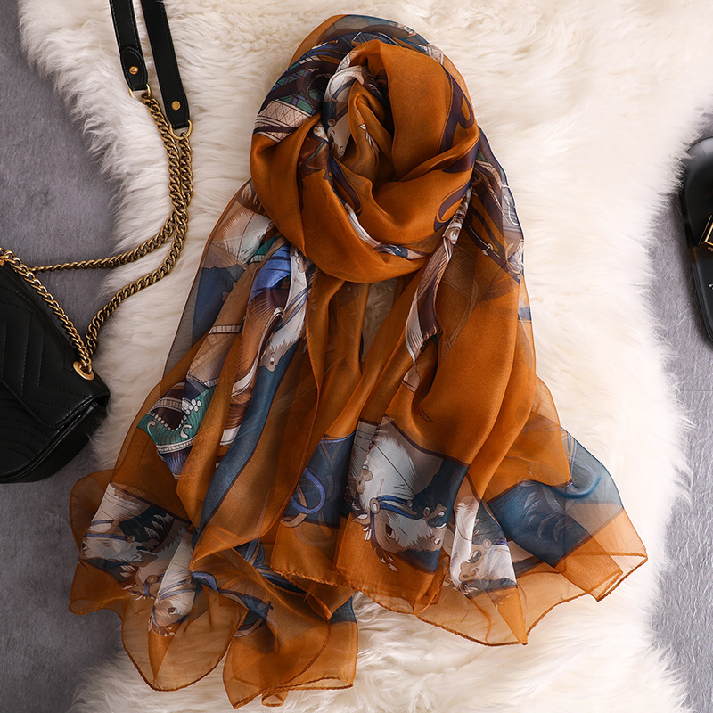 2019 Organza Spring Scarf Women Carriage Chain Long Breathable Summer Silk Scarf for Ladies Sunscreen Shawl Wrap Scarves Female