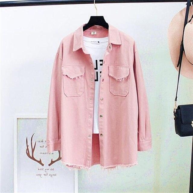 Осень Весна джинсовые блузки для малышек для женщин Корея Модные свободные рукав девять-четвёртых рубашки мальчиков топы корректирующие Джинс