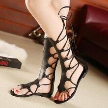 Summer gladiator boots cross strap sandals thong Roman leather strap Women's sandals women flat sandals sandal booties