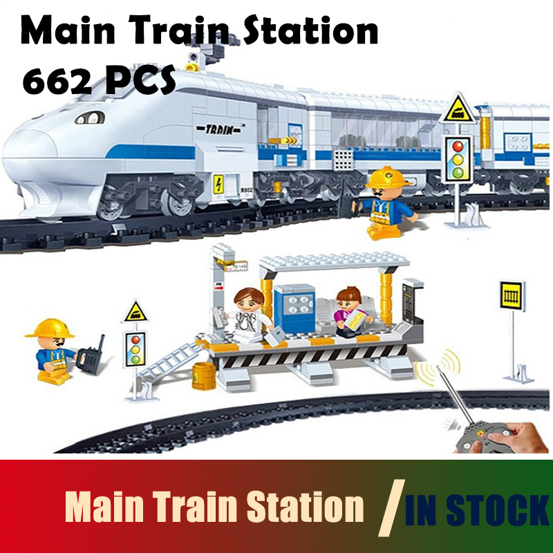 Compatible with lego city Model building block set Main Train Station 3D Construction Brick Educational Hobbies Toys for Kids newest track train brick building block set educational diy construction toys for children enlighten bricks compatible with lego