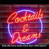 Cocktails Dreams Sign Neon Light Sign Neon Bulbs Store Display Real Glass Tube Quality Guarantee Handcraft