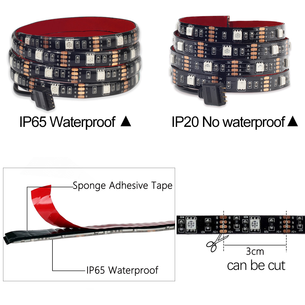 DC5V USB LED strip 5050 RGB RGBW RGBWW 50CM 1M 2M TV Background Lighting Flexibe LED strip Adhesive Tape IP20 / IP65 waterproof