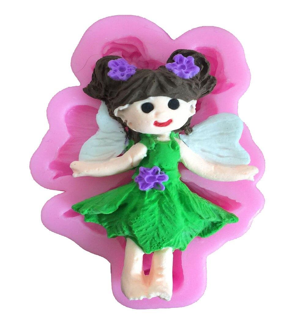 ⃝Cute Angel Girl jabón molde Chocolate hornear moldes 3D silicona ...