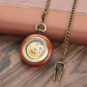 Image 4 - Vintage Watch Red Wood Design Round Mechanical Pocket Watch Automatic Timepiece Luxury Pendant Clock Self Winding Watches Gifts