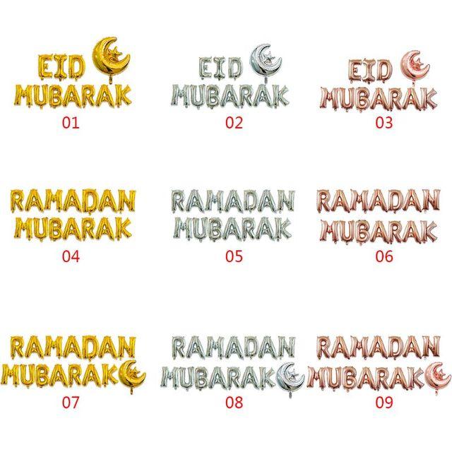 16 ''feliz Eid Mubarak Ramadan letra lámina globos decoración alfabeto Banners Luna Set suministros para fiesta musulmán