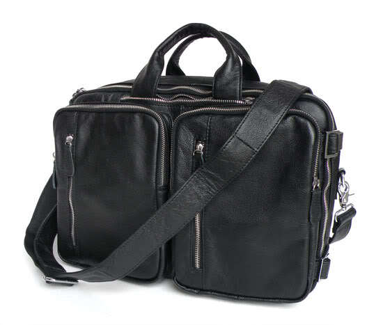 Classic Real Leather Black Casual Cross Body Bags Men's Hand Briefcases For Laptop Bag Travel Bags 5Pcs/Lot 7041A