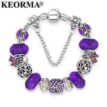 KEORMA European Ribbon Charm Bracelet for Women Luxury Crystal Beads Brand Bracelets Bangles Plusera Wholesale Dropshipping