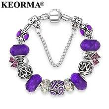 KEORMA European Ribbon Charm Bracelet for Women font b Luxury b font font b Brand b