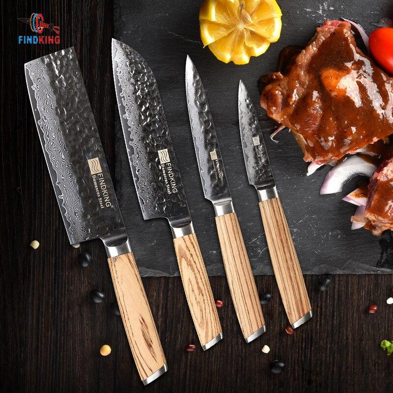 FINDKING Зебра деревянная ручка Дамаск набор ножей 4 шт. 6,5 дюймов chef 7 дюймов santoku 5 дюймов утилита 3 дюйма фрукты нож 67 слоев