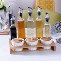 Kitchen Condiment Tank Bamboo Wood Frame Tank Oil Bottle Set Glass Bottle food honey jar small containers with lids cookie jar
