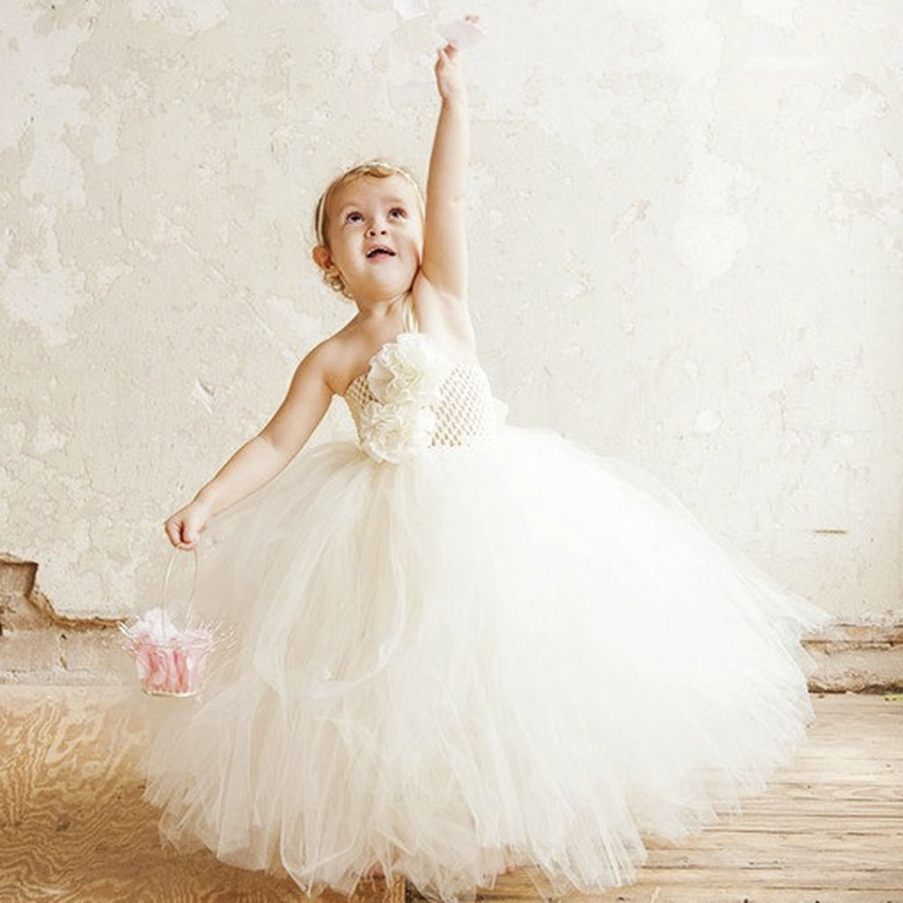 Fishion Flower Girls Tutu Dress For Wedding Party Ankle Length Kids Girls Tutu Dress Birthday Photograph Princess Dress PT284 free shipping wired new 9 tft lcd screen video door phone intercom system with 1 night vision door bell camera 2 monitors
