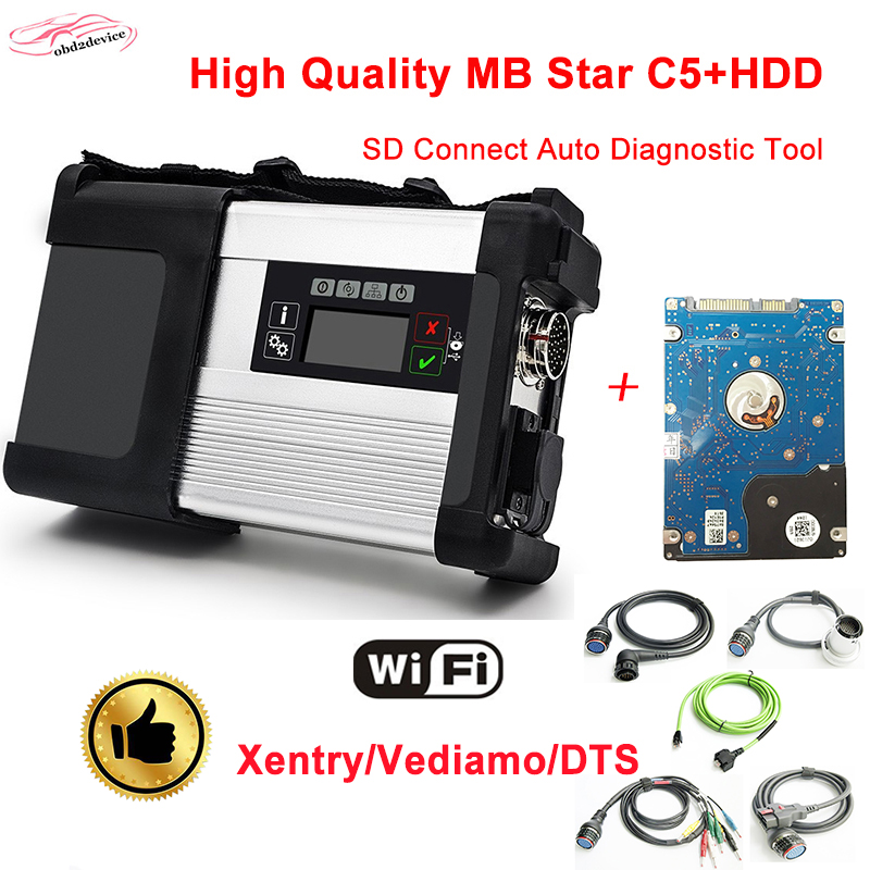2018 HOT WIFI MB star C5 with HDD 2018.07 C5 Full Set SD connect c5 diagnostic tool For car&truck better than mb star C4 аксессуары для телефонов ems dhl c5 nemo c5