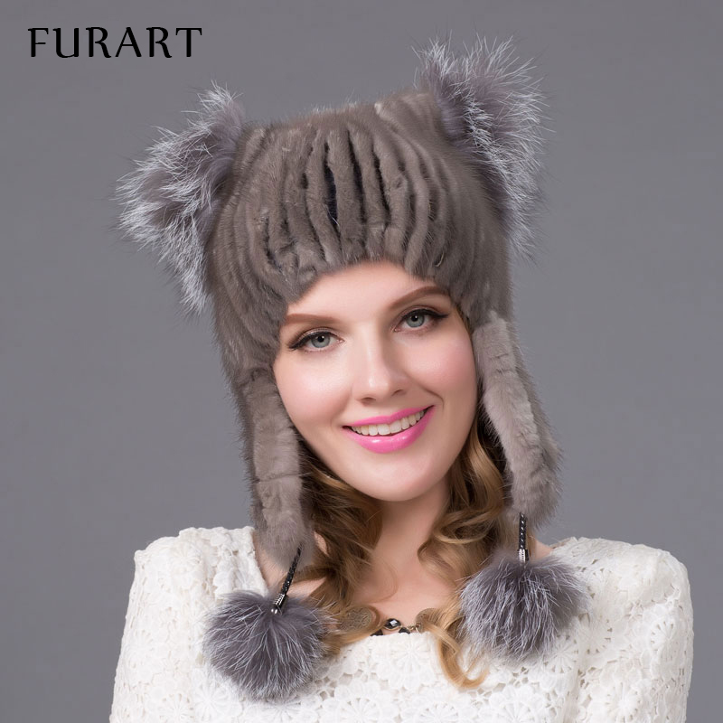 women's genuine mink fur hat with fur pom poms winter autumn lovely cat ear style caps 2015 latest brand new hats for girls new star spring cotton baby hat for 6 months 2 years with fluffy raccoon fox fur pom poms touca kids caps for boys and girls