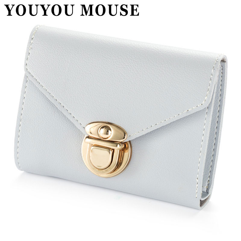 YOUYOU MOUSE Lady Short Wallet 3 Fold PU Leather Multi-Card Bit Zero Purse Buckle Simple Fashion Multi-Function Small Wallet youyou mouse korean style women wallet pu leather 2 fold phone package wallet multi function lovely big eyes pattern wallet