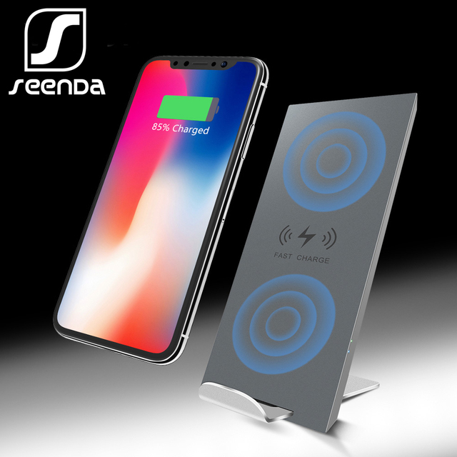 new style 36db3 1a823 US $11.65 |SeenDa Dual Coil Qi Wireless Charger 7.5W For iPhone Xs Max 8  10W Fast Mobile Phone Wireless Charger Cell Phone Stand Holder -in Wireless  ...