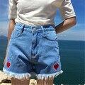 Rugod nueva llegada pantalones cortos de mezclilla bolsillo de los vaqueros cortos 2017 verano de la muchacha ocasional de las mujeres cortocircuitos calientes del corazón bordado pantalones cortos de cintura alta