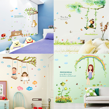 Zs Sticker Swing Girl Wall Stickers Children Room Home Decor Swing Girl Vinyl Kids Room Decal Baby Room Nursery Decor Leather Bag