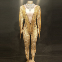 Sparkly Gold Stones Fringes Jumpsuit Rhinestones Sexy Bodysuit Female Singer Evening Stage Wear Birthday Celebrate Outfit DL3431